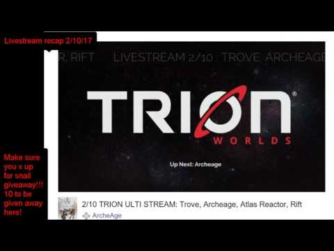 Archeage trion worlds livestream recap 2/10/17 TRANSFERS!!!