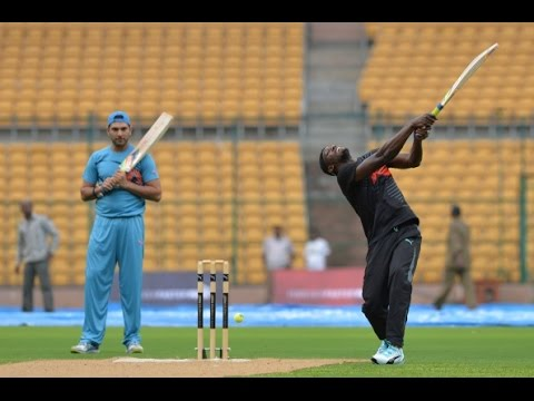 Usain Bolt & Yuvraj Singh In Bangalore Cricket Friendly 2014 video