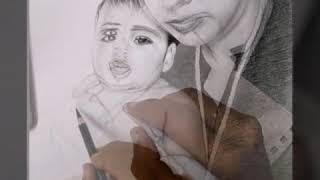 Mother and Baby  Pencil Drawing