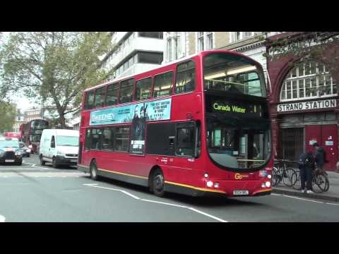 (HD) Three Go Ahead London Volvo vehicles passing Aldwych Somerset House