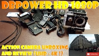 DBPOWER HD 1080P Action Camera UNBOXING AND REVIEW (UHD - 4K !)