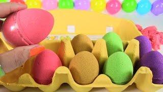 DIY Kinetic Sand Eggs /Hướng Dẫn Làm Trứng Sắc Màu Bằng Cát Động Lực Tìm Đồ Chơi Bất Ngờ Trong Trứng