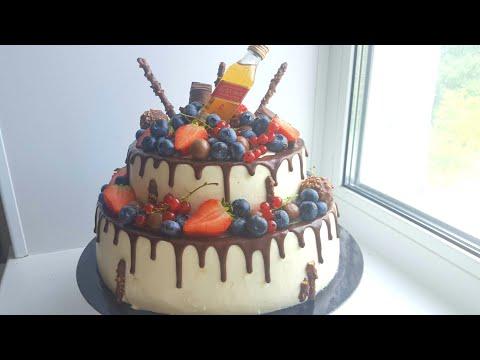 Сборка и декорирование двухъярусного торта 🎂 How to make two-layered cake