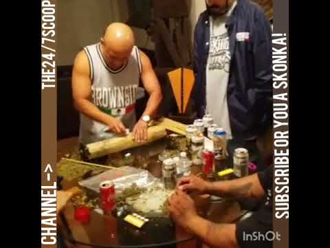 TOKER from brownside making a giant joint out of 1 pound of green, for rich Garcia's video.