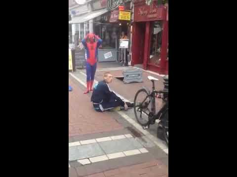 Caught In The Web!- Spider-man Tackles Man In Dublin City Center video