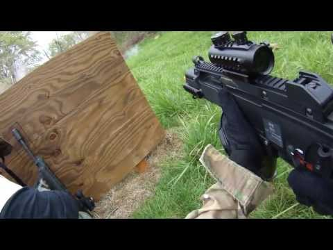 Airsoft War Outdoor WE G36c, WE G18c Full Auto Contour ROAM2