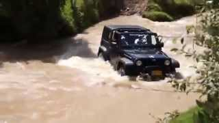 Jeep wade across the river