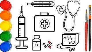 Glitter Medical Instruments Coloring Pages For Kids | Peralatan Medis Halaman Mewarnai
