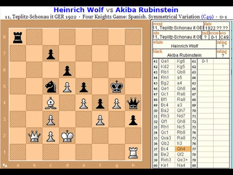 chess tactics position game 1 (Wolf-Rubinstein 1922)0-1