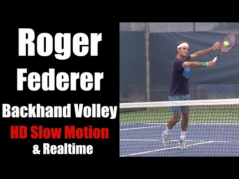Roger Federer Backhand Volley slo motion and realtime 1080p