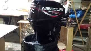 Пуск мотора, Start Mercury engine 4 stroke 15 hp