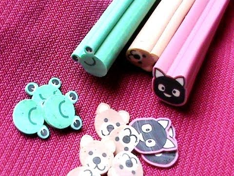 How To Cut Fimo Canes collection - Easy fimo canes nail art tutorial- fimo clay DIY fimo flower