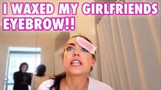 WAXED MY GIRLFRIENDS EYEBROW PRANK!! (SHE CRIED)