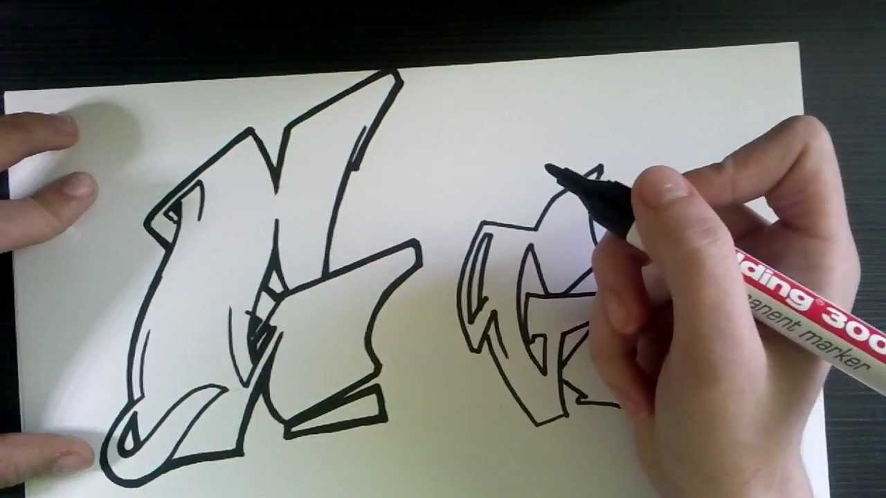 how to draw graffiti letter quotgquot on paper youtube