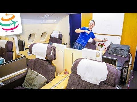 Lufthansa FIRST Class A380 nur für uns   Review Flightreport Bericht   GlobalTraveler.TV