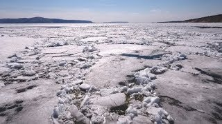 Water and Ice on a Frozen River   Stock Footage - Videohive