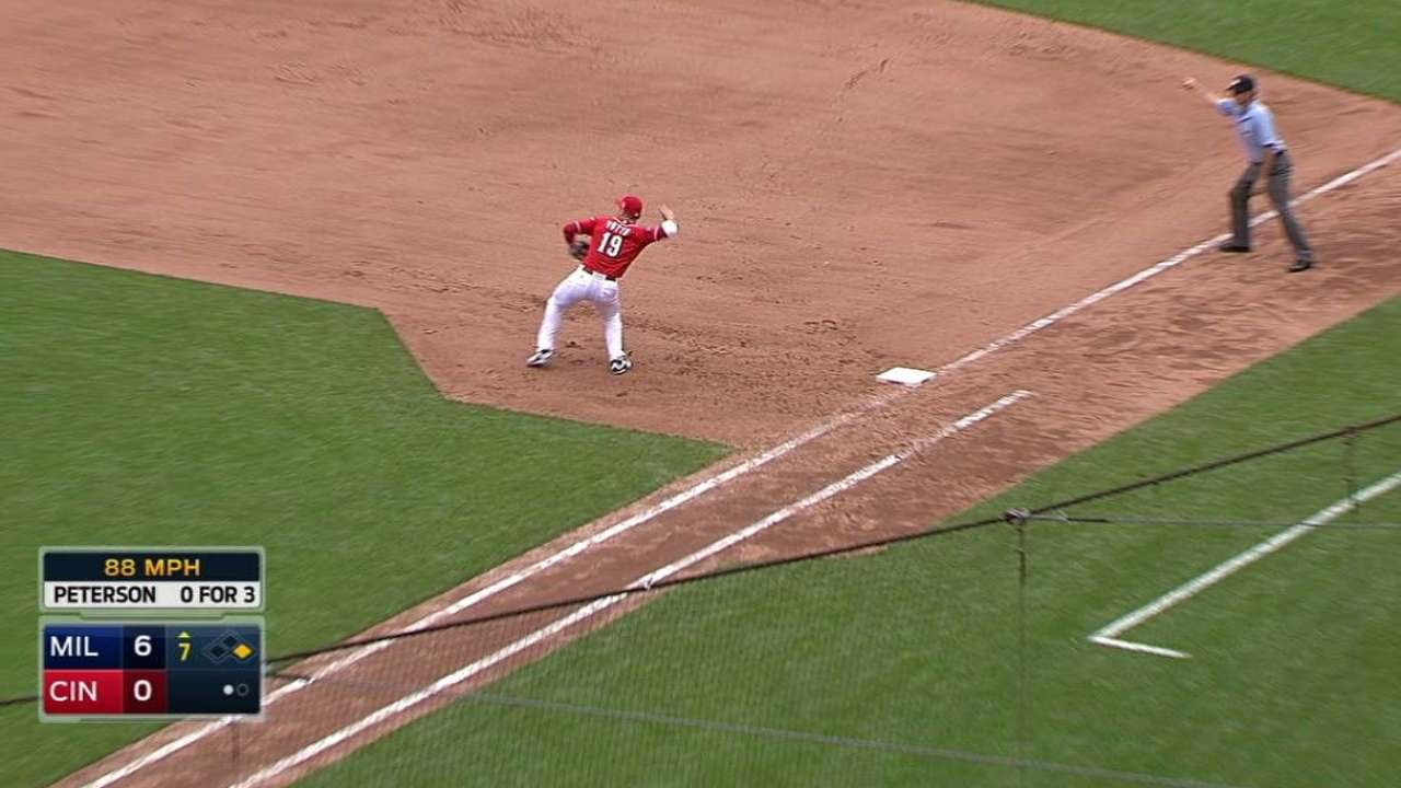 MIL@CIN: Votto turns an inning-ending double play