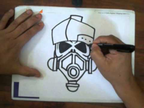How to draw a skull with a gas mask (quick sketch)