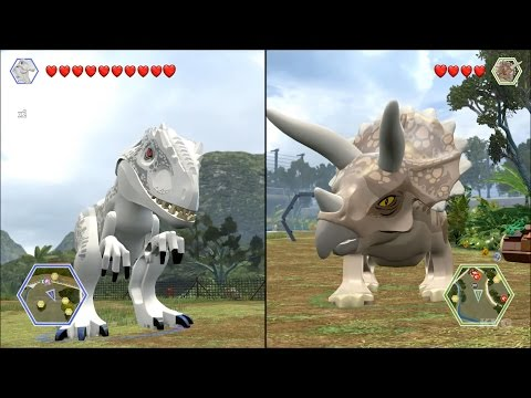 LEGO Jurassic World - Indominus Rex vs Triceratops - CoOp Fight | Free Roam Gameplay [HD]