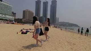 [4K] 해운대해수욕장 - Walking along Haeundae Beach, Busan, Korea