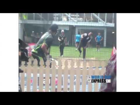 Shane Warne bowls to Shane Watson at Australia nets