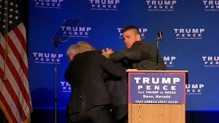 Donald Trump was rushed off of the stage at a campaign event in Reno, Nevada