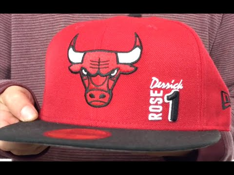 bulls derrick rose 1 red black fitted hat by new era