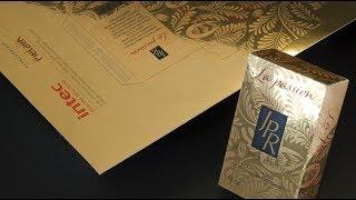 Perfume carton on Gold MetaliK® Kernow coatings printed CS5000 Clear and cut on CC500 HD