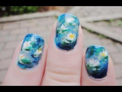 Claude Monet Water Lilies Nail Tutorial