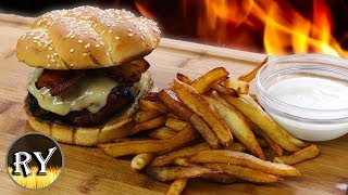 Caramelized Onion Burger With Homemade Fries And Ranch Dressing