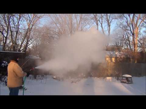 Hot Water Garden Hose In Extreme Cold Weather: Temperature - 14 F - Polar Vortex