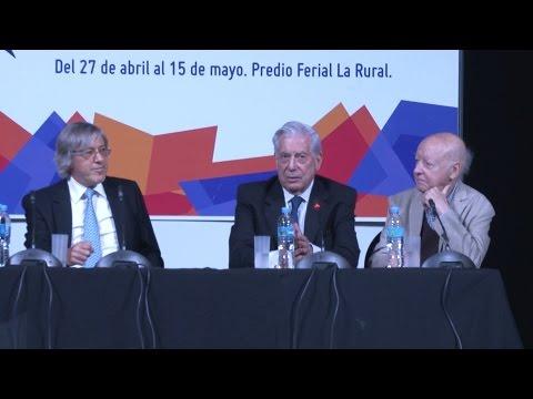 Mario Vargas Llosa, Jorge Edwards y Alejandro Roemmers en la Feria del Libro