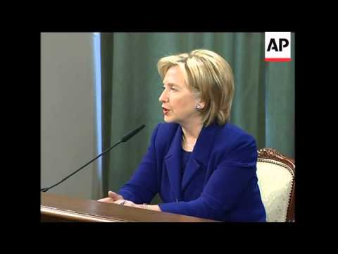 WRAP Clinton meets Medvedev; visits Boeing plant, joint presser with FM, Iran sots