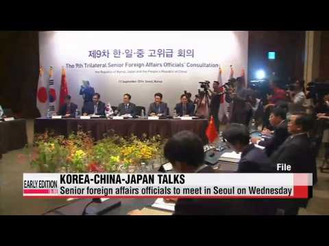 Senior foreign affairs officials from Korea, China and Japan to meet for talks i