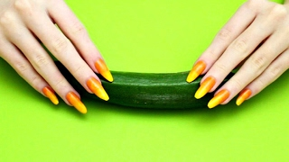 ASMR #092 - Scratching a cucumber with my long orange and yellow nails!