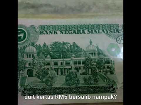 Duit RM 5 ada lambang salib dpd koleksi Wang lama