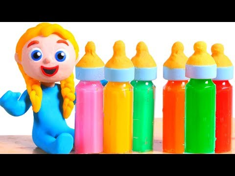 SUPERHERO BABIES  HAVE JUICE BOTTLES ❤ Superhero Babies Play Doh Cartoons For Kids