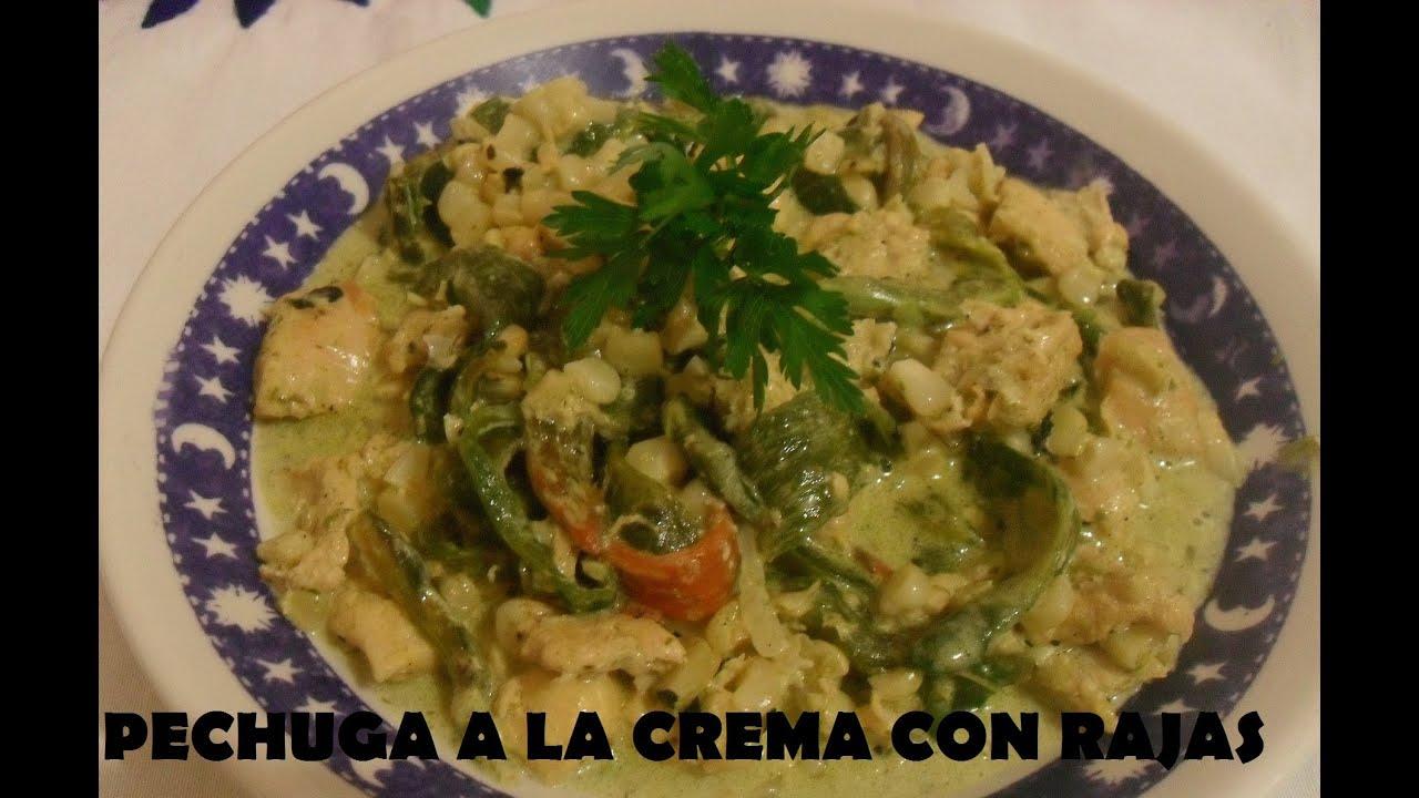 Pollo Con Crema y Chile Poblano Crema Con Rajas de Poblano