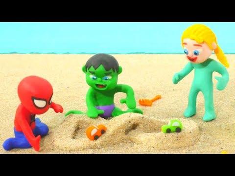 SUPERHERO BABIES PLAY AT THE BEACH ❤ Hulk & Frozen Elsa Play Doh Cartoons For Kids ❤ Stop Motion