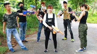 Superhero action Spiderman Two Hero & SWAT Nerf guns Robbery Hunter Rescue Young Girl Nerf war