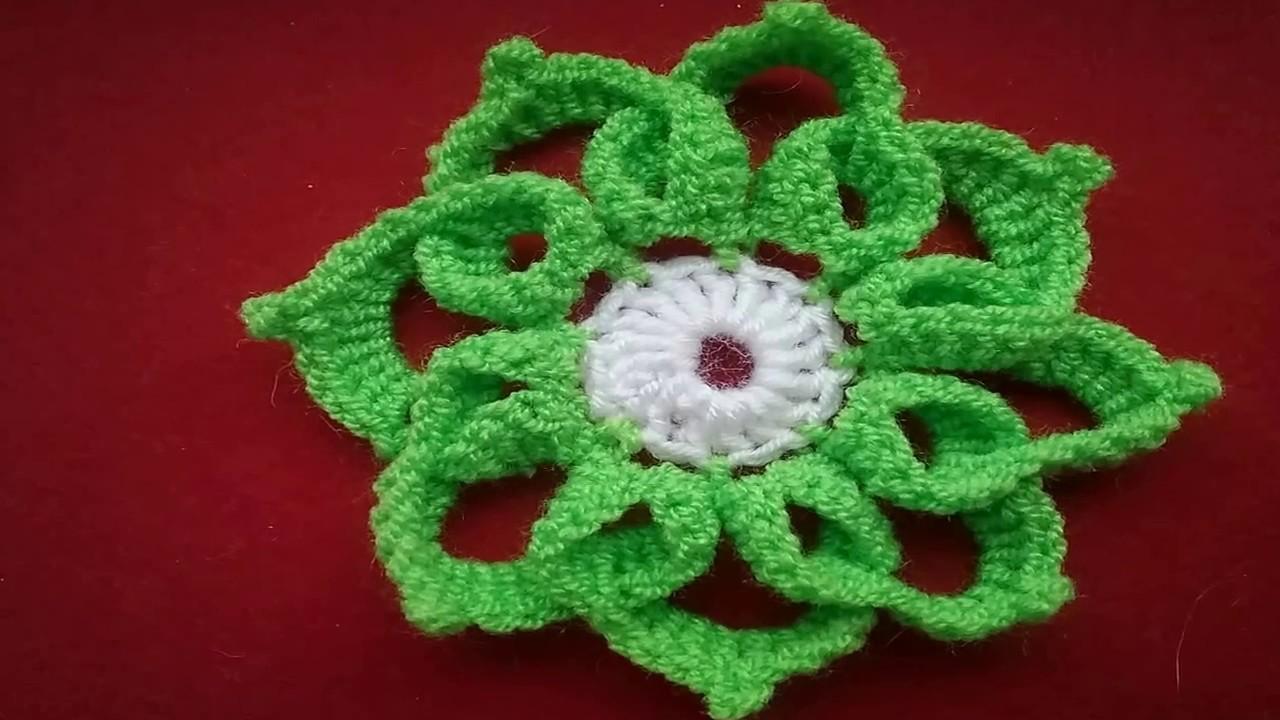 Вязание крючком цветы-видео-объемного цветка