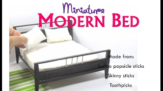 DIY Modern Contemporary Bed Dollhouse Miniature Furniture Tutorial