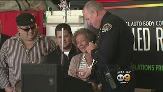 Police Officer Surprises Mother Of Fallen Soldier With Son