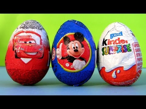Cars 2 Toy Surprise Kinder Egg Mickey Mouse Easter eggs Disney car-toys Review by Disneycollector