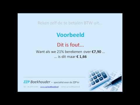 Reken zelf als ZZP'er de BTW uit - YouTube: www.youtube.com/watch?v=W2uXZcLd4vo