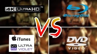 4K VS 1080p Blu-Ray VS DVD VS iTunes/UltraViolet - Review Comparison