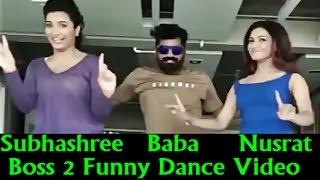 Subhashree Ganguly & Nusrat Faria making Baba Yadav Dance at Boss 2 Film Shooting in Thailand
