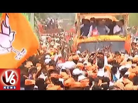 Karnataka Elections 2018: BJP Chief Amit Shah Holds Roadshow in Badami | V6 News