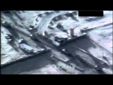 Surveillance footage of MQ-1 Predator drone of last unit out of Iraq 12/18/2011
