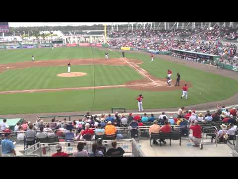 Grady Sizemore in first at-bat with Red Sox vs. Northeastern